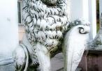 Lew z herbem przed wejściem do pałacu