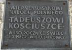 Tablica pamiątkowa na pomniku Tadeusza Kościuszki