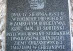 Tablica upamiętniająca wizytę Jana III Sobieskiego na zamku w sierpniu 1683 r.