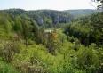 Widok na nasze gospodarstwo z tarasu widokowego na Grodzisku